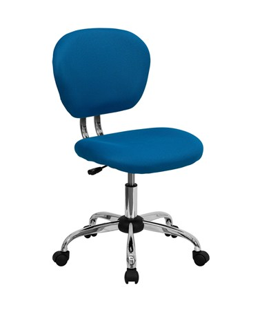 Mid-Back Turquoise Mesh Task Chair with Chrome Base [H-2376-F-TUR-GG] FLFH-2376-F-TUR-GG