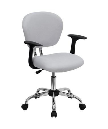 Mid-Back White Mesh Task Chair with Arms and Chrome Base [H-2376-F-WHT-ARMS-GG] FLFH-2376-F-WHT-ARMS-GG