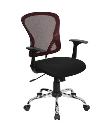 Mid-Back Burgundy Mesh Office Chair with Black Fabric Seat and Chrome Finished Base [H-8369F-BG-GG] FLFH-8369F-BG-GG