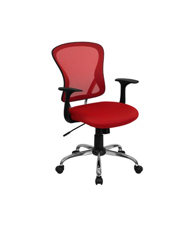 Mid-Back Red Mesh Office Chair with Chrome Finished Base [H-8369F-RED-GG] FLFH-8369F-RED-GG