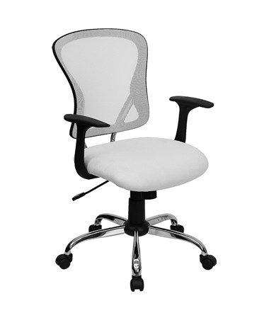 Mid-Back White Mesh Office Chair with Chrome Finished Base [H-8369F-WHT-GG] FLFH-8369F-WHT-GG