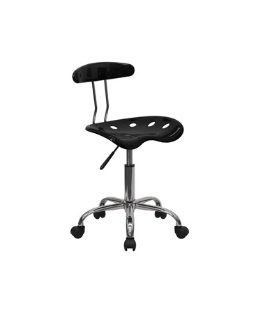 Vibrant Black and Chrome Computer Task Chair with Tractor Seat [LF-214-BLK-GG] FLFLF-214-BLK-GG