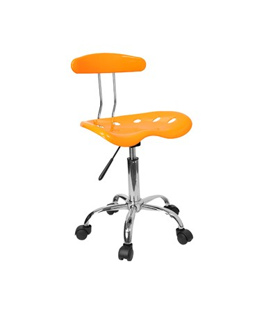 Vibrant Orange-Yellow and Chrome Computer Task Chair with Tractor Seat [LF-214-YELLOW-GG] FLFLF-214-YELLOW-GG