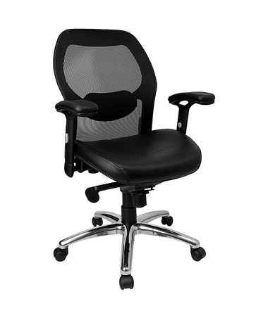 Mid-Back Super Mesh Office Chair with Black Italian Leather Seat and Knee Tilt Control [LF-W42-L-GG] FLFLF-W42-L-GG