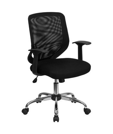 Mid-Back Black Mesh Office Chair with Mesh Fabric Seat [LF-W95-MESH-BK-GG] FLFLF-W95-MESH-BK-GG