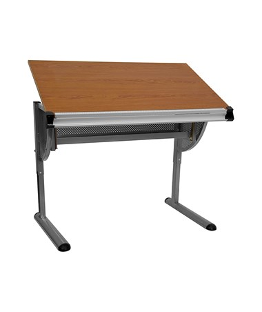 Adjustable Drawing and Drafting Table with Pewter Frame [NAN-JN-2433-GG] FLFNAN-JN-2433-GG