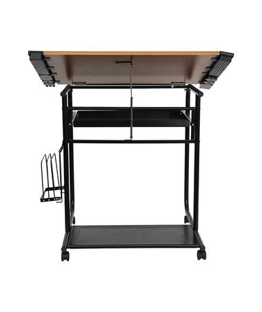 Flash Furniture Adjustable Drafting Table w/ Black Frame & Dual Wheel Casters FLFNAN-JN-2739-GG