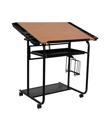 Adjustable Drawing and Drafting Table with Black Frame and Dual Wheel Casters [NAN-JN-2739-GG] FLFNAN-JN-2739-GG