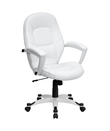 Mid-Back White Leather Executive Office Chair [QD-5058M-WHITE-GG] FLFQD-5058M-WHITE-GG