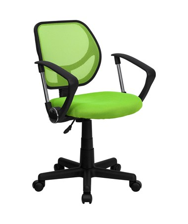 Mid-Back Green Mesh Task Chair and Computer Chair with Arms [WA-3074-GN-A-GG] FLFWA-3074-GN-A-GG