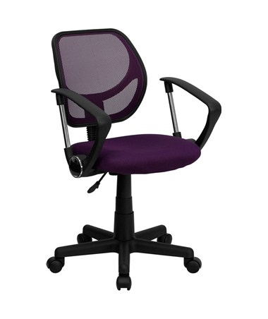 Mid-Back Purple Mesh Task Chair and Computer Chair with Arms [WA-3074-PUR-A-GG] FLFWA-3074-PUR-A-GG