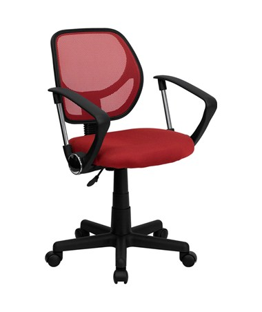 Mid-Back Red Mesh Task Chair and Computer Chair with Arms [WA-3074-RD-A-GG] FLFWA-3074-RD-A-GG
