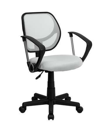 Mid-Back White Mesh Task Chair and Computer Chair with Arms [WA-3074-WHT-A-GG] FLFWA-3074-WHT-A-GG
