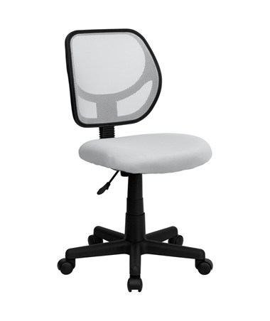 Mid-Back White Mesh Task Chair and Computer Chair [WA-3074-WHT-GG] FLFWA-3074-WHT-GG