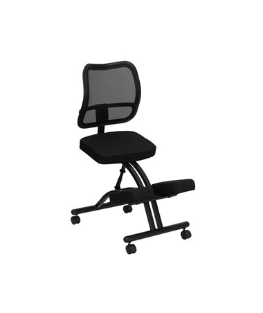 Mobile Ergonomic Kneeling Chair with Black Curved Mesh Back and Fabric Seat [WL-3520-GG] FLFWL-3520-GG