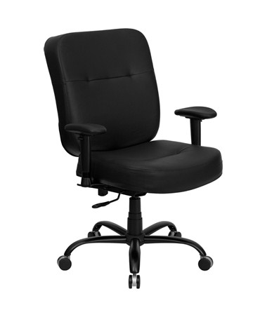 HERCULES Series 400 lb. Capacity Big and Tall Black Leather Office Chair with Arms and Extra WIDE Seat [WL-735SYG-BK-LEA-A-GG] FLFWL-735SYG-BK-LEA-A-GG