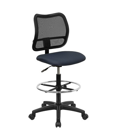 Mid-Back Mesh Drafting Stool with Navy Blue Fabric Seat [WL-A277-NVY-D-GG] FLFWL-A277-NVY-D-GG