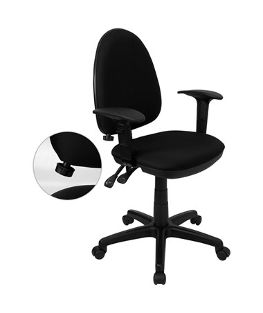 Mid-Back Black Fabric Multi-Functional Task Chair with Arms and Adjustable Lumbar Support [WL-A654MG-BK-A-GG] FLFWL-A654MG-BK-A-GG