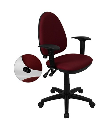 Mid-Back Burgundy Fabric Multi-Functional Task Chair with Arms and Adjustable Lumbar Support [WL-A654MG-BY-A-GG] FLFWL-A654MG-BY-A-GG