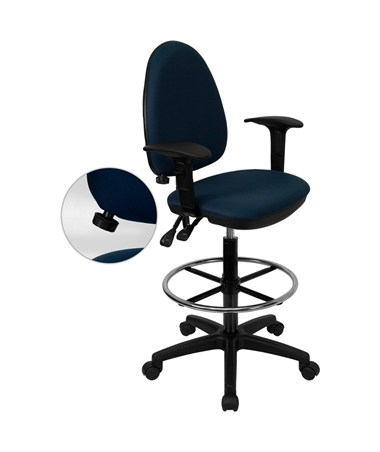 Mid-Back Navy Blue Fabric Multi-Functional Drafting Stool with Arms and Adjustable Lumbar Support [WL-A654MG-NVY-AD-GG] FLFWL-A654MG-NVY-AD-GG