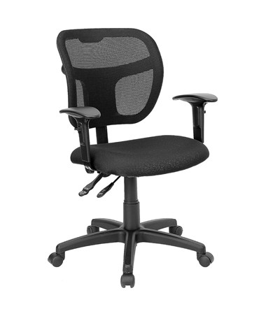 Mid-Back Mesh Task Chair with Black Fabric Seat and Arms [WL-A7671SYG-BK-A-GG] FLFWL-A7671SYG-BK-A-GG