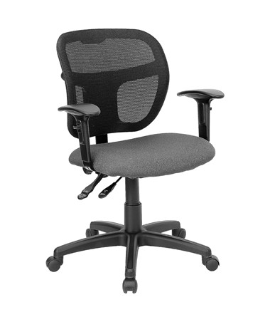 Mid-Back Mesh Task Chair with Gray Fabric Seat [WL-A7671SYG-GY-A-GG] FLFWL-A7671SYG-GY-A-GG