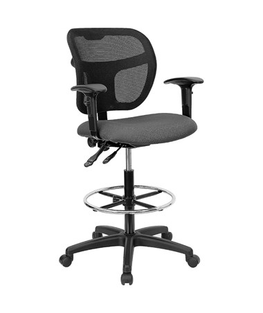 Mid-Back Mesh Drafting Stool with Gray Fabric Seat and Arms [WL-A7671SYG-GY-AD-GG] FLFWL-A7671SYG-GY-AD-GG