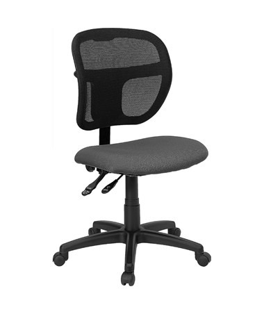 Mid-Back Mesh Task Chair with Gray Fabric Seat [WL-A7671SYG-GY-GG] FLFWL-A7671SYG-GY-GG