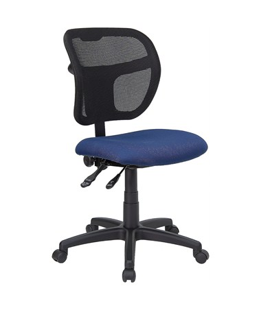 Mid-Back Mesh Task Chair with Navy Blue Fabric Seat [WL-A7671SYG-NVY-GG] FLFWL-A7671SYG-NVY-GG