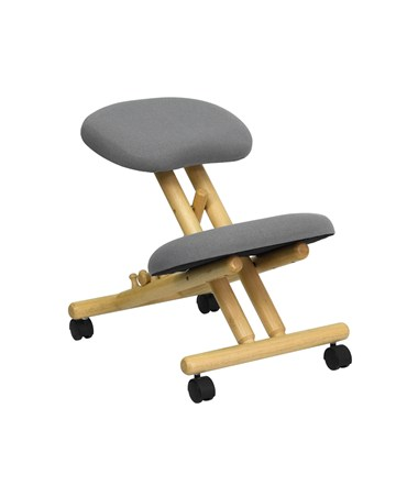 Mobile Wooden Ergonomic Kneeling Chair in Gray Fabric [WL-SB-101-GG] FLFWL-SB-101-GG
