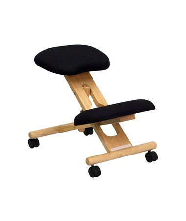 Mobile Wooden Ergonomic Kneeling Chair in Black Fabric [WL-SB-210-GG] FLFWL-SB-210-GG