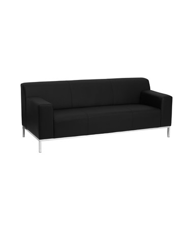 HERCULES Definity Series Contemporary Black Leather Sofa with Stainless Steel Frame [ZB-DEFINITY-8009-SOFA-BK-GG] FLFZB-DEFINITY-8009-SOFA-BK-GG