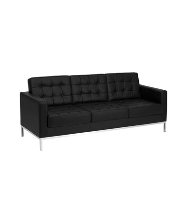 HERCULES Lacey Series Contemporary Black Leather Sofa with Stainless Steel Frame [ZB-LACEY-831-2-SOFA-BK-GG] FLFZB-LACEY-831-2-SOFA-BK-GG