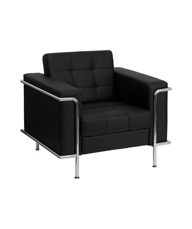 HERCULES Lesley Series Contemporary Black Leather Chair with Encasing Frame [ZB-LESLEY-8090-CHAIR-BK-GG] FLFZB-LESLEY-8090-CHAIR-BK-GG