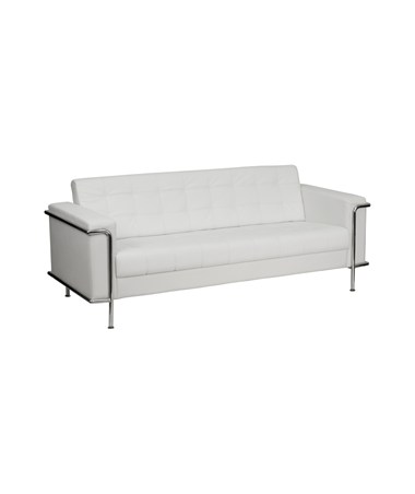 HERCULES Lesley Series Contemporary White Leather Sofa with Encasing Frame [ZB-LESLEY-8090-SOFA-WH-GG] FLFZB-LESLEY-8090-SOFA-WH-GG