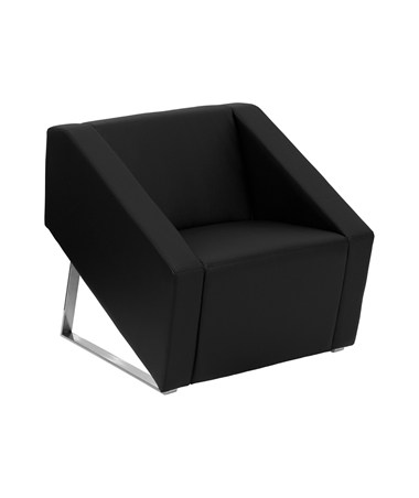 HERCULES Smart Series Black Leather Reception Chair [ZB-SMART-BLACK-GG] FLFZB-SMART-BLACK-GG