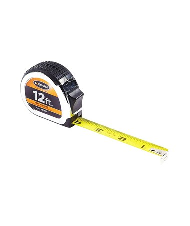 Keson 12 Feet Chrome Short Tape; Feet, Inches, 1/8, 1/16 with 5/8-inch Blade PG1812