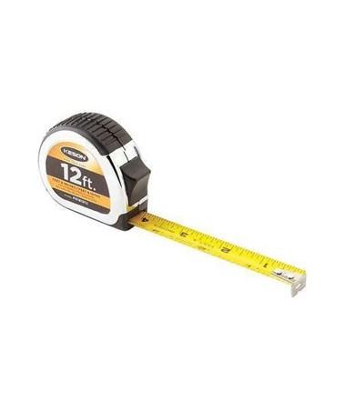 Keson 12 Feet Chrome Short Tape; Feet, 1/10, 1/100 & Feet, Inches, 1/8, 1/16 with 5/8-inch Blade PG181012