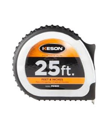 Keson 25 Feet Chrome Short Tape; Feet, Inches, 1/8, 1/16 1-inch Blade PG1825