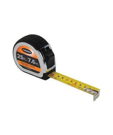 Keson 25 Feet Chrome Short Tape; Feet, 1/10, 1/100 & cm, mm with 1-inch Blade PG10M25