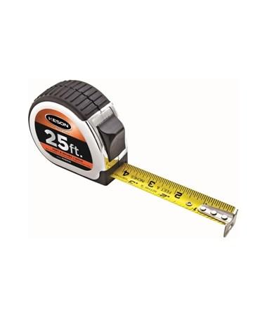 Keson 25 Feet Chrome Short Tape; Feet, 1/10, 1/100 & Feet, Inches, 1/8, 1/16 with 1-inch Blade PG181025