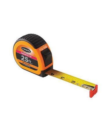 Keson 25 Feet Magnetic Tip Short Tape; Feet, Inches, 1/8, 1/16 with Orange Case PG1825VMAG