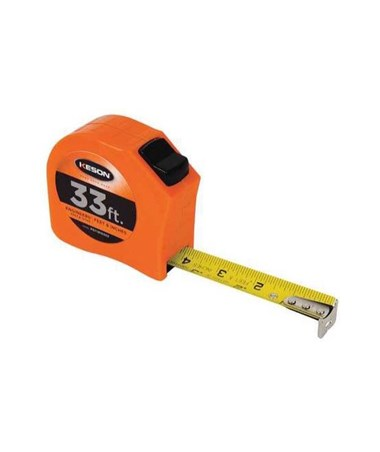 Keson 33 Feet Toggle Lock Short Tape; Feet, 1/10, 1/100 & Feet, Inches, 1/8, 1/16 with 1-inch Blade PGT181033V