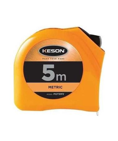 Keson 5 Meter Chrome Short Tape; Meter, Centimeter, Millimeter with 25mm Blade PGT5MV