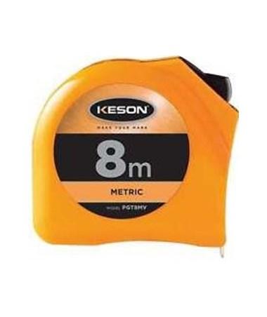 Keson 8 Meter Chrome Short Tape; Meter, Centimeter, Millimeter with 25mm Blade PGT8MV