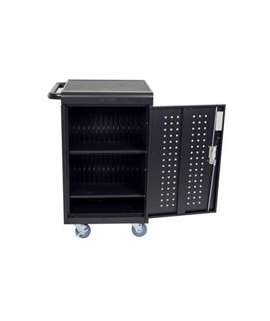 Luxor 30 Capacity Tablet Chromebook Charging Cart with Keypad Lock Front LLTM30-B-KP