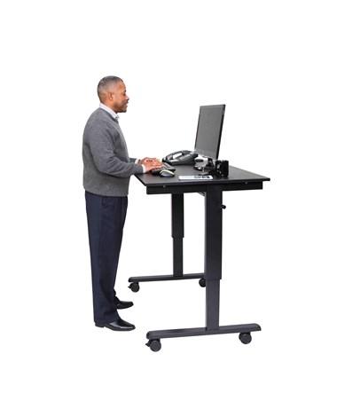 """Luxor 48"""" Crank Adjustable Stand Up Desk Black Frame Black Oak Top STANDCF48-BK/BO"""