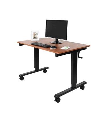 """Luxor 48"""" Crank Adjustable Stand Up Desk Black Frame and Teak Top STANDCF48-BK/TK"""