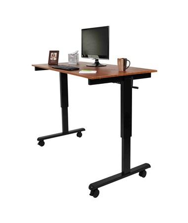 """Luxor 60"""" Crank Adjustable Stand Up Desk Black Frame and Teak Top STANDCF60-BK/TK"""