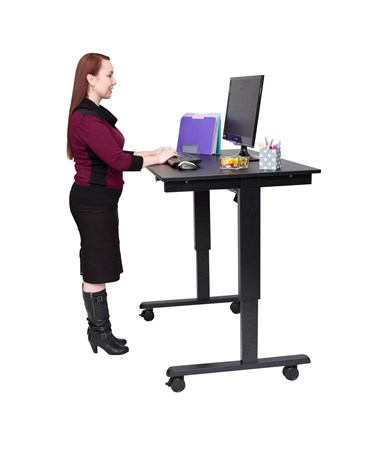 "Luxor 48"" Electric Standing Desk Black Frame and Black Oak Top STANDE-48-BK/BO"